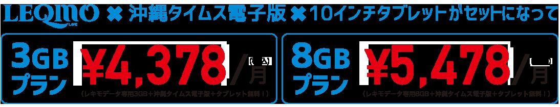3GBプラン3,980円・8GBプラン4,980円